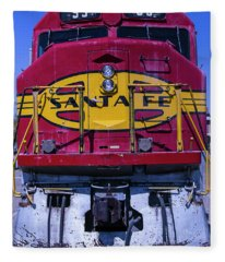 Santa Fe Train Head On Fleece Blanket