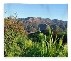 Santa Monica Mountains Green Landscape Fleece Blanket