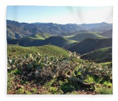 Santa Monica Mountains - Hills And Cactus Fleece Blanket