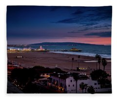 Santa Monica Pier And Catalina Island Fleece Blanket
