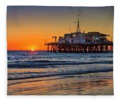 Santa Monica Pier At Sunset Fleece Blanket