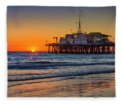 Santa Monica Pier At Sunset Fleece Blanket