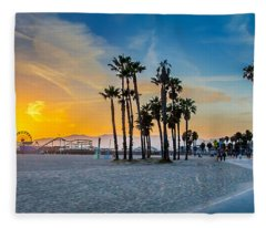 Santa Monica Sunset Fleece Blanket