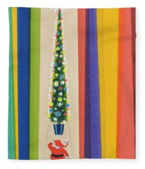 Santa's Christmas Tree Fleece Blanket