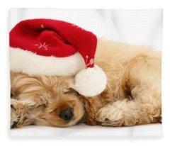 Santa's Sleepy Spaniel Fleece Blanket