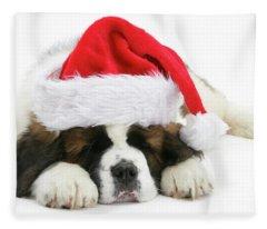 Santa's Snoozing Saint Bernard Fleece Blanket