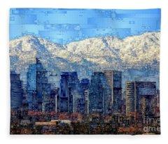 Fleece Blanket featuring the digital art Santiago De Chile, Chile by Rafael Salazar