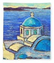 Santorini  Blue Fleece Blanket