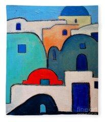 Santorini Cityscape Fleece Blanket