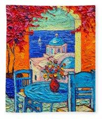 Santorini Dream Greece Contemporary Impressionist Palette Knife Oil Painting By Ana Maria Edulescu Fleece Blanket
