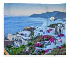 Santorini Greece Dwp416136  Fleece Blanket