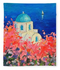 Santorini Impression - Full Bloom In Santorini Greece Fleece Blanket
