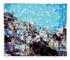 Santorini Island Fleece Blanket