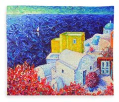 Santorini Oia Colors Modern Impressionist Impasto Palette Knife Oil Painting By Ana Maria Edulescu Fleece Blanket