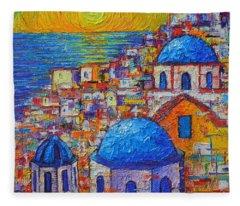 Santorini Sunset - Oia Blue Domes Abstract Cityscape  Fleece Blanket