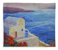 Santorini View Fleece Blanket