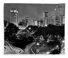 Sao Paulo Downtown At Night In Black And White - Correio Square Fleece Blanket