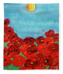 Sarah's Poppies Fleece Blanket