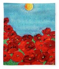Sarah's Poppies Fleece Blanket