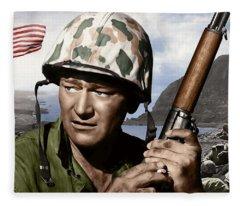 Sargent Stryker U S M C  Iwo Jima Fleece Blanket