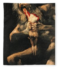 Saturn Devouring One Of His Children  Fleece Blanket