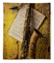 Saxophone Hanging On Old Wall Fleece Blanket