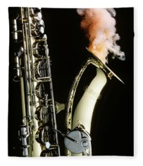 Saxophone With Smoke Fleece Blanket