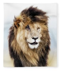 Scar Lion Closeup Square Fleece Blanket