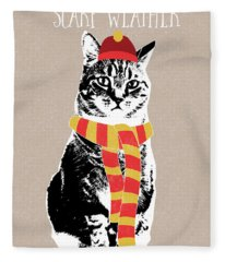 Scarf Weather Cat- Art By Linda Woods Fleece Blanket