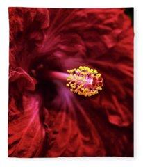 Scarlet Hibiscus Fleece Blanket