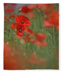 Scarlet Meadow Fleece Blanket