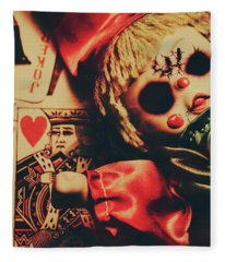 Scary Doll Dressed As Joker On Playing Card Fleece Blanket