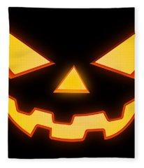 Scary Halloween Horror Pumpkin Face Fleece Blanket