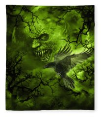 Scary Moon Fleece Blanket