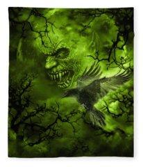 Scary Moon Fleece Blanket