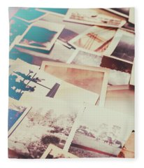 Scattered Collage Of Old Film Photography Fleece Blanket
