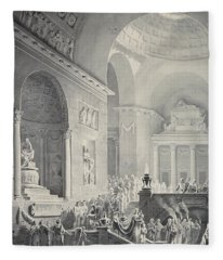 Scene In A Classical Temple  Funeral Procession Of A Warrior Fleece Blanket