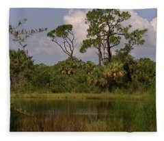 Scenic View Of Trees And A Pond Fleece Blanket