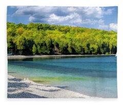 Schoolhouse Beach Panorama On Washington Island Door County Fleece Blanket