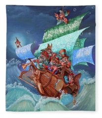 Schooner Labuh.on The Crest Of Success Fleece Blanket