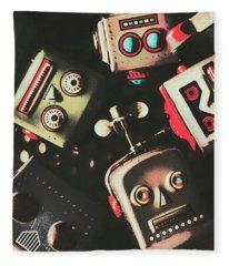 Science Fiction Robotic Faces Fleece Blanket