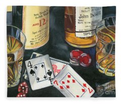 Scotch Cigars And Cards Fleece Blanket