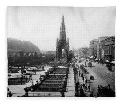 Scott Monument On Princes Street And Castle Fleece Blanket