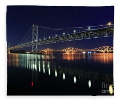 Scottish Steel In Silver And Gold Lights Across The Firth Of Forth At Night Fleece Blanket