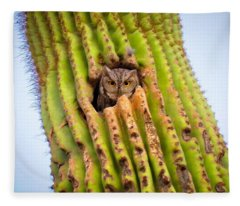 Screech Owl In Saguaro Fleece Blanket
