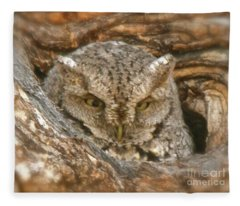 Screech Owl On Spring Creek Fleece Blanket