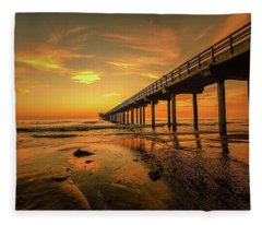 Scripps Pier Sunset Fleece Blanket