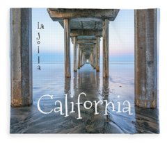 Scripps Pier With Text Fleece Blanket