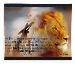 Scripture Art    Lamb Of God Fleece Blanket