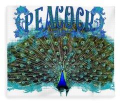 Scroll Swirl Art Deco Nouveau Peacock W Tail Feathers Spread Fleece Blanket